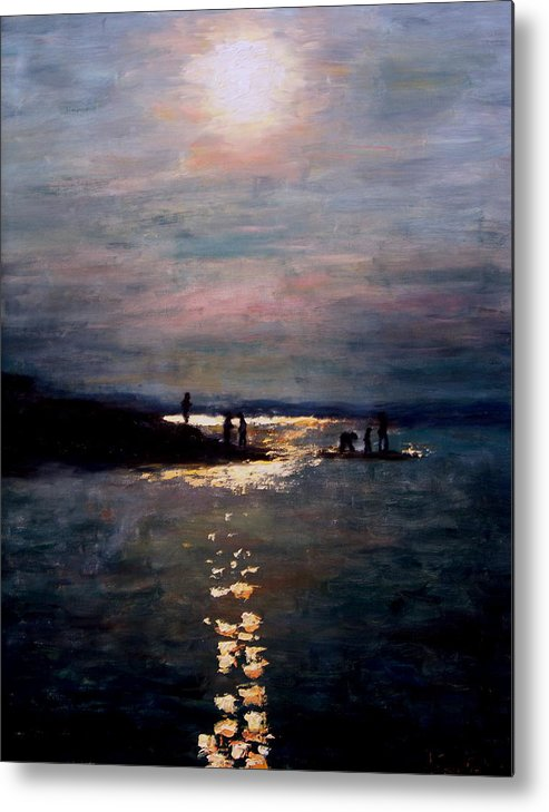 Sunset Metal Print featuring the painting Moonlight by Ashlee Comerford