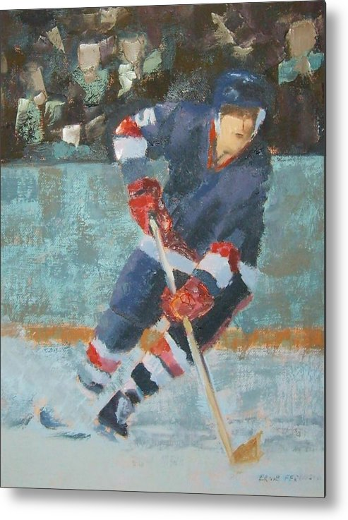 Sports Portrait Metal Print featuring the painting The Winger by Ernie Ferguson
