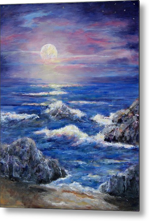 Full Moon On The California Coast Metal Print featuring the painting Tranquility by Thomas Restifo