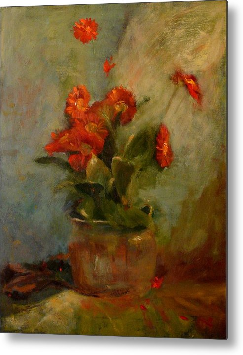 Red Metal Print featuring the painting sold Red Gerberas by Irena Jablonski