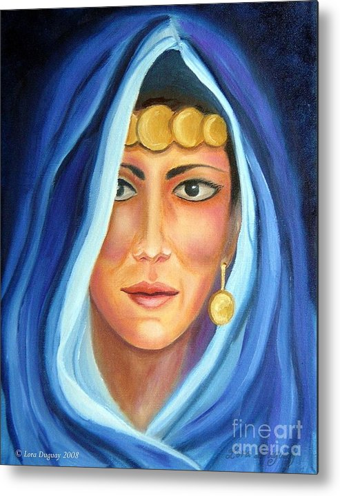 Gypsy Woman Metal Print featuring the painting Shroud Of Mysticism by Lora Duguay