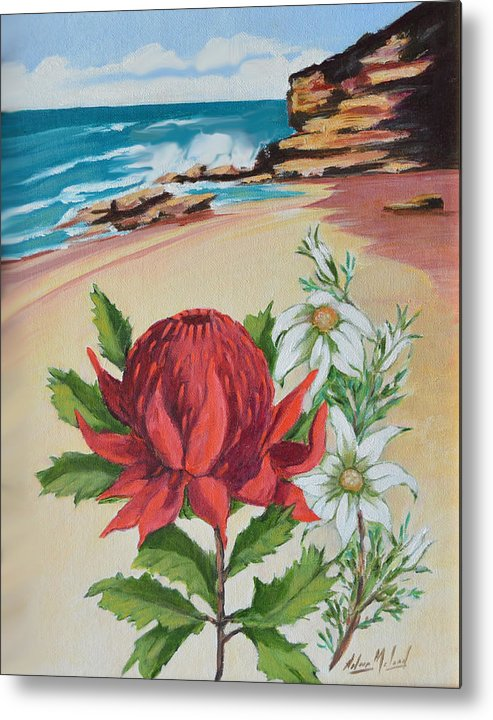 Wildflower Study Metal Print featuring the painting Wildflowers And Headland by Aileen McLeod