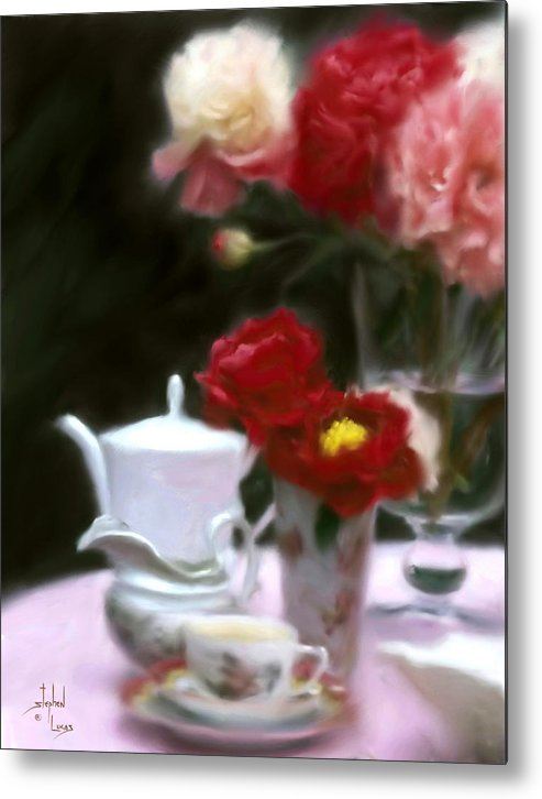 Peonies Metal Print featuring the digital art Afternnon Tea With Peonies by Stephen Lucas