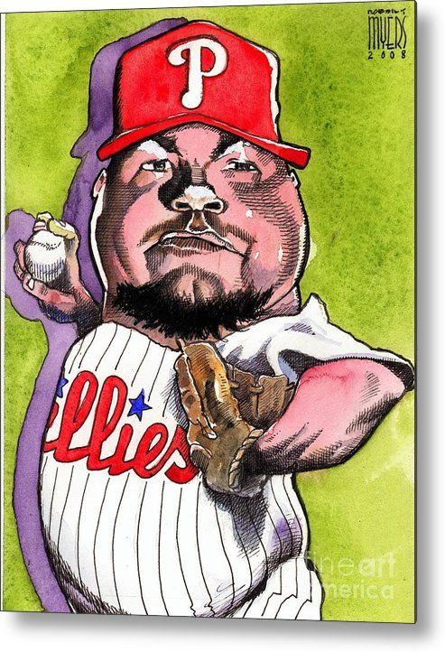 Sports Art Metal Print featuring the painting Joe Blanton -phillies by Robert Myers
