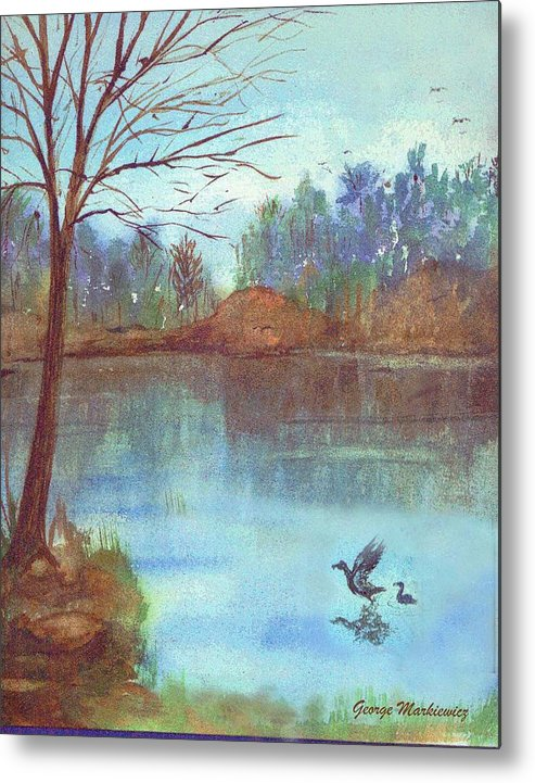 Lake And Ducks Metal Print featuring the print Lake In The Morning by George Markiewicz