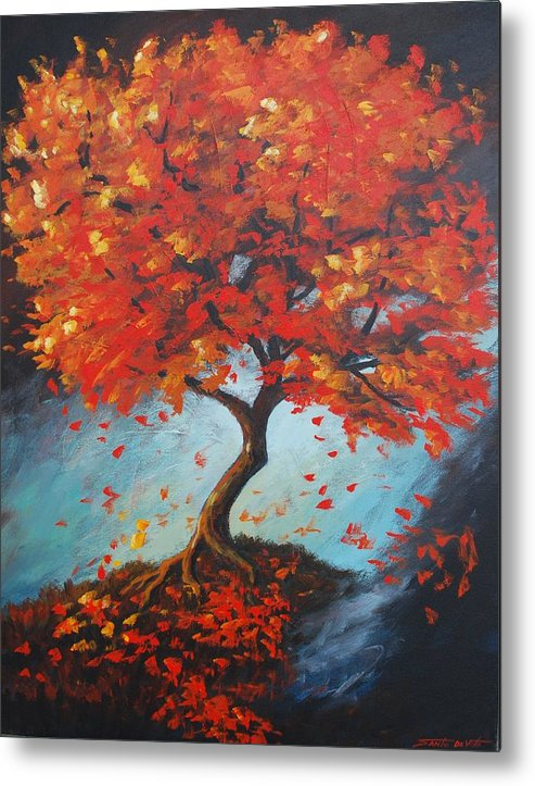 Semi-abstract Landscape Metal Print featuring the painting The Red Tree by Santo De Vita