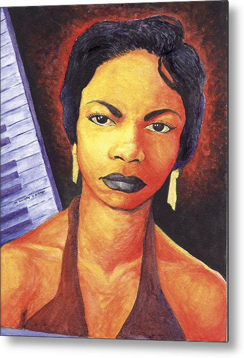 Nina Simone Metal Print featuring the painting Alabamas Got Me So Upset by Marcus Anderson