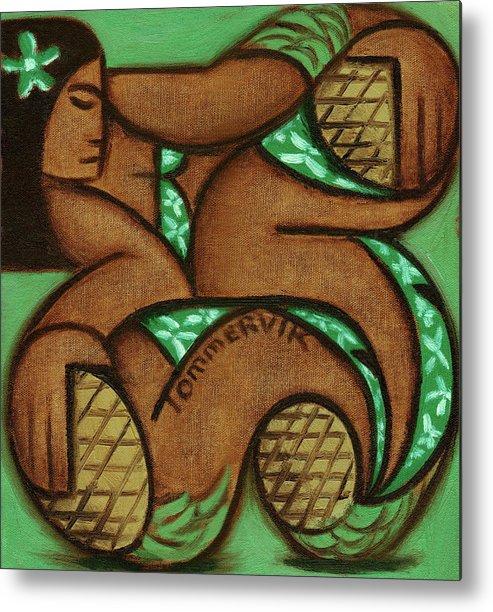 Pineapple Metal Print featuring the painting Tommervik Hawaiian Woman Pineapple Art Print by Tommervik