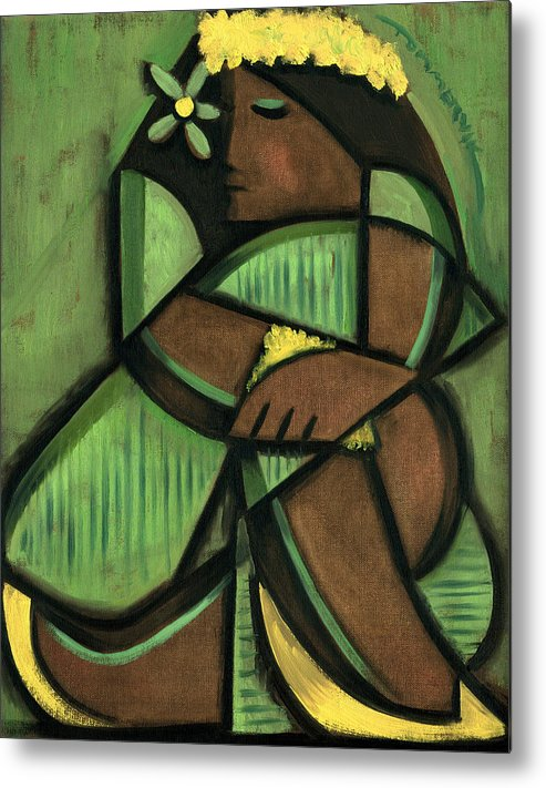 Hawaiian Metal Print featuring the painting Tommervik Cubist Hula Girl Art Print by Tommervik