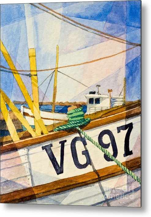 Fishing Boats Metal Print featuring the painting Fishing Boats Watercolor by Lutz Baar