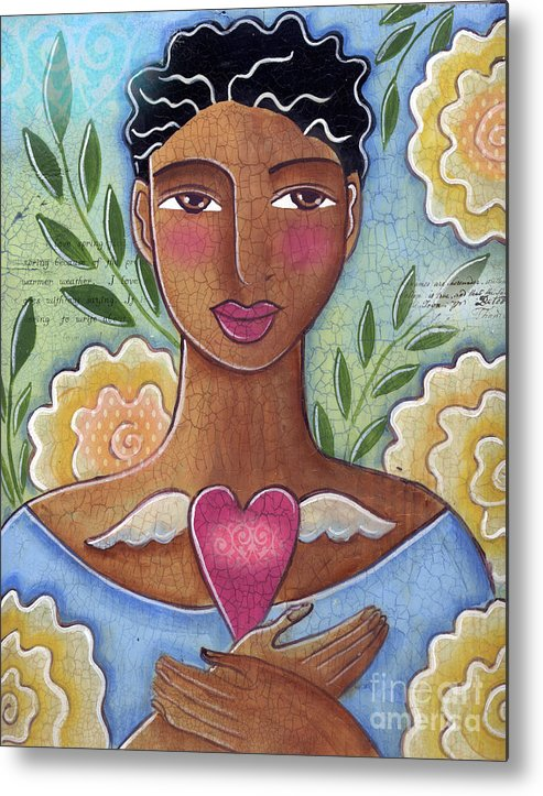 Woman Metal Print featuring the mixed media Precious Heart by Elaine Jackson by Elaine Jackson