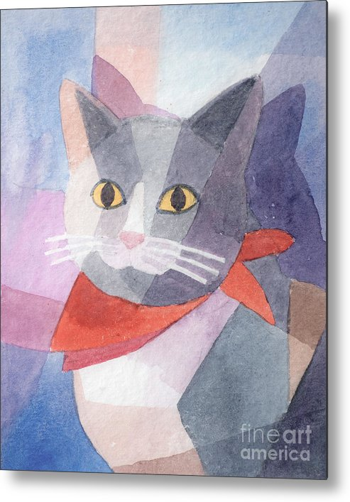 Cat Metal Print featuring the painting Watercolor Cat by Lutz Baar