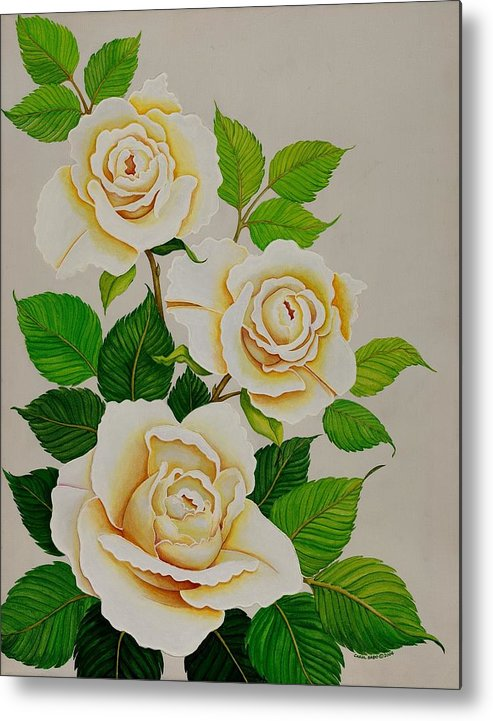 White Roses With Yellow Shading On A White Background. Metal Print featuring the painting White Roses - Vertical by Carol Sabo