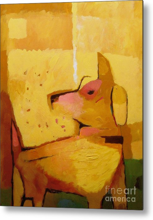 Dog Metal Print featuring the painting Yellow Dog by Lutz Baar