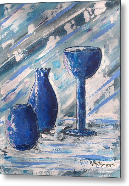 Vases Metal Print featuring the painting My Blue Vases by J R Seymour