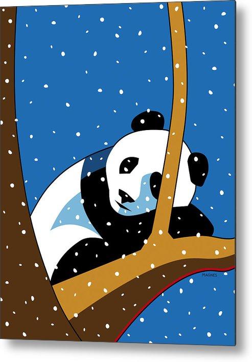 Panda Metal Print featuring the digital art Panda at Peace by Ron Magnes