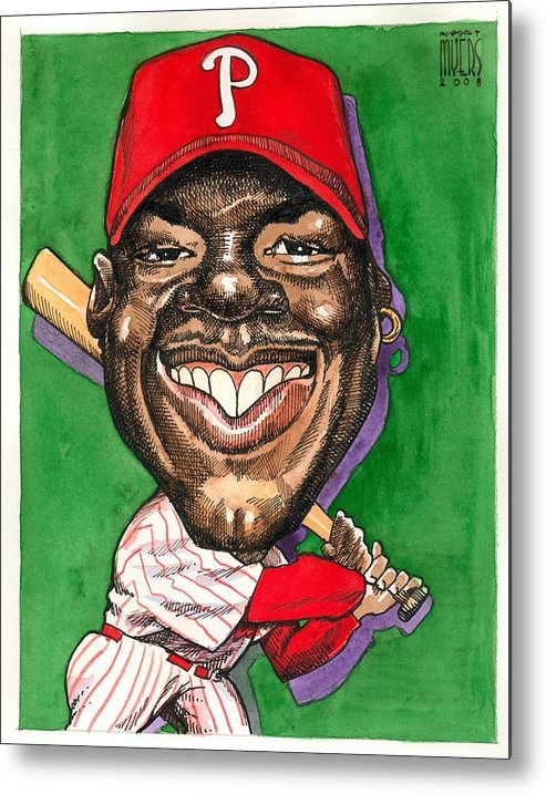 Sports Art Metal Print featuring the painting Phillies by Robert Myers