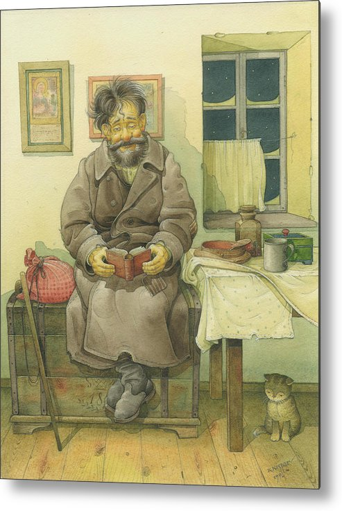 Russian Winter Metal Print featuring the painting Russian Scene 03 by Kestutis Kasparavicius