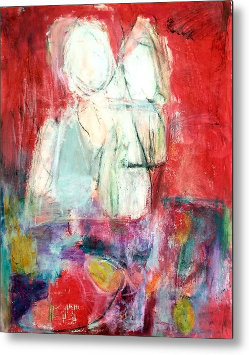 Red Metal Print featuring the painting Tete-a-tete by Patricia Byron