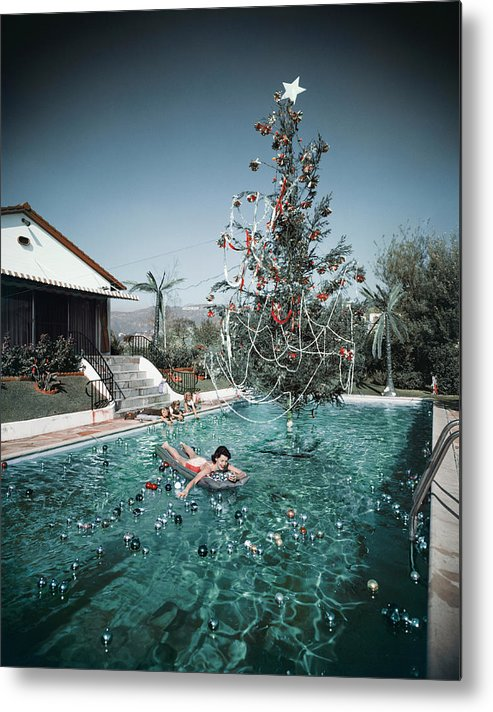 People Metal Print featuring the photograph Christmas Swim by Slim Aarons