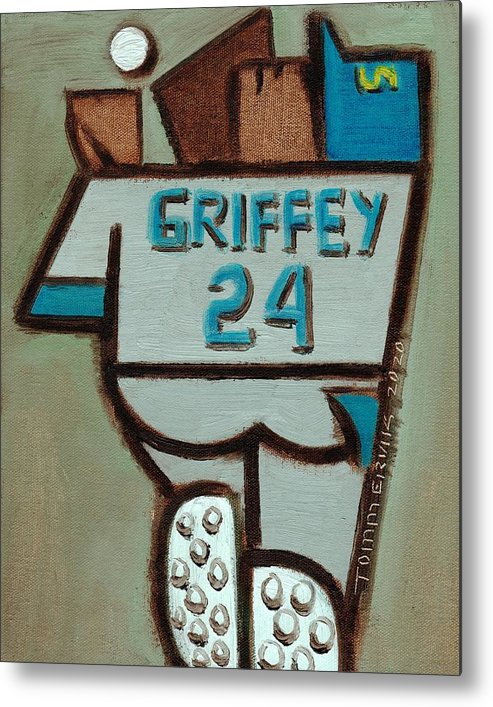 Ken Griffey Metal Print featuring the painting Ken Griffey Jr Over The Shoulder Catch Art Print by Tommervik