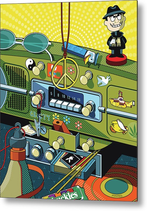 Sixties Metal Print featuring the digital art Road Trip '69 by Ron Magnes