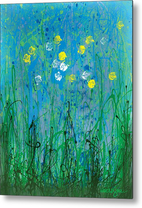 Abstract Flowers Metal Print featuring the painting Spring Neglect by Harold Shull