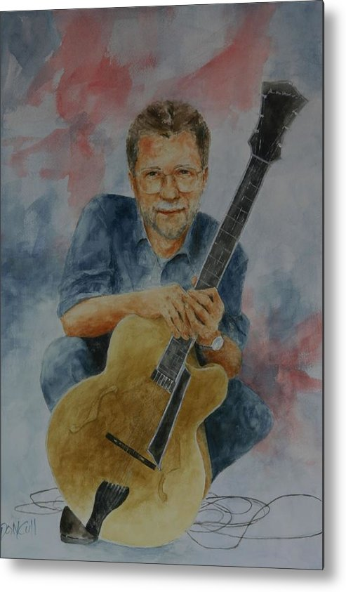 Portraits Metal Print featuring the painting Jazz Guitarist by Don Cull