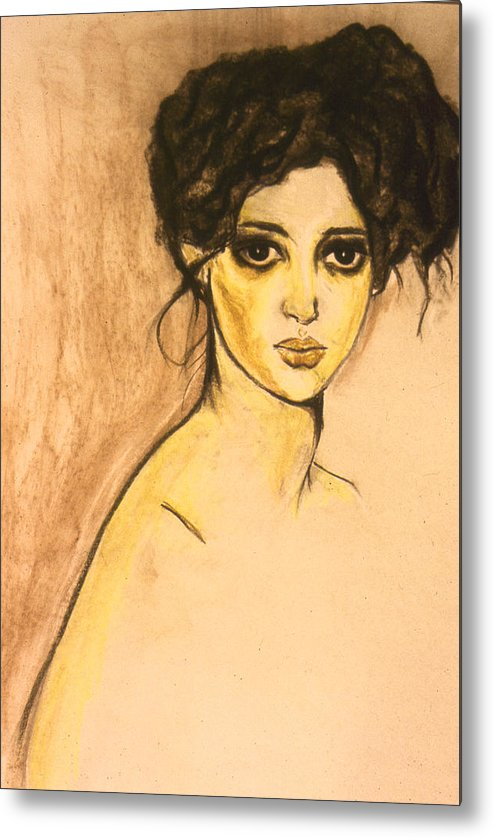 Face Metal Print featuring the painting Coco by Marne Adler