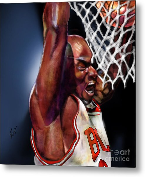 Michael Jordan Metal Print featuring the painting Eclipsing The Moon - Jordan by Reggie Duffie