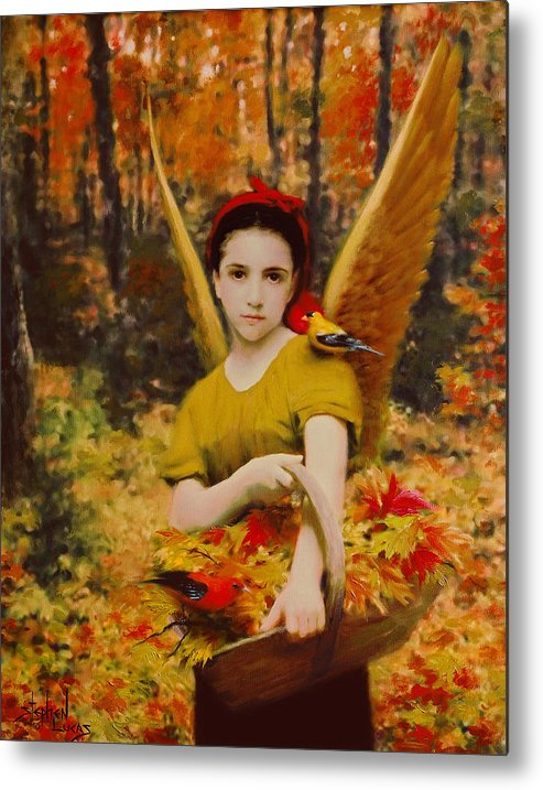 Angel Metal Print featuring the painting Autumn Angels by Stephen Lucas