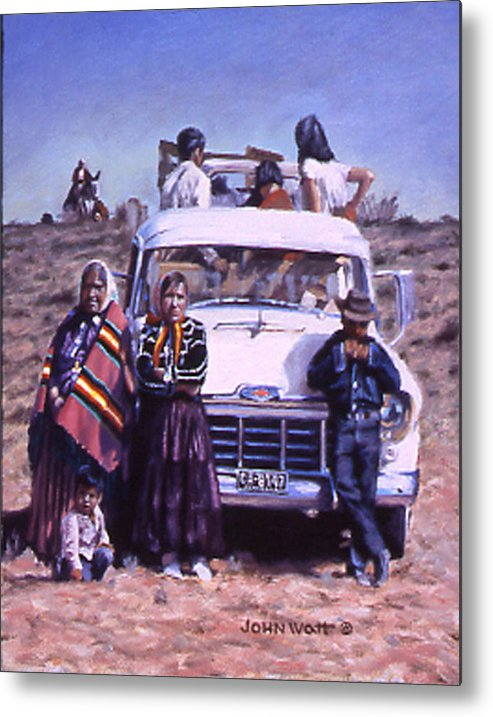 Navajo Indian Southwestern Monument Valley Metal Print featuring the painting Catchin' Up by John Watt