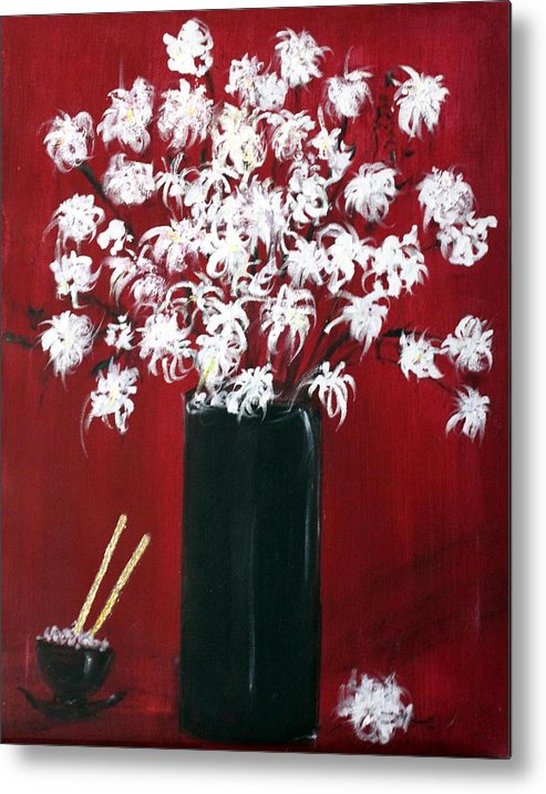 Still Life Metal Print featuring the painting Chrysanthemums And The Rice Bowl by Michela Akers