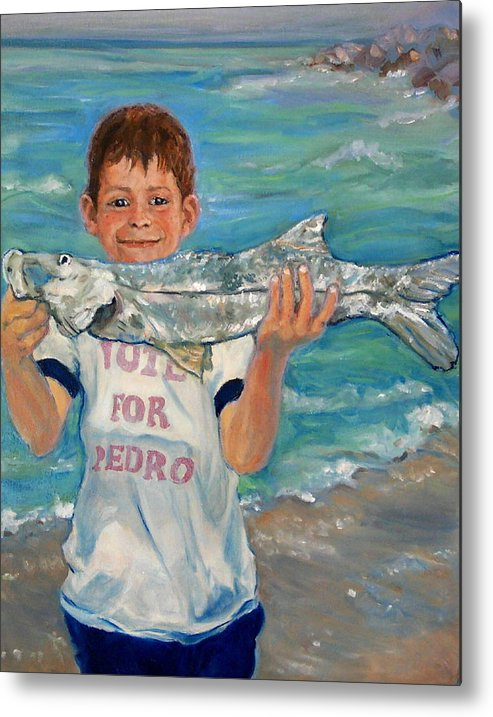 Portrait Metal Print featuring the painting First Snook by Ruth Mabee