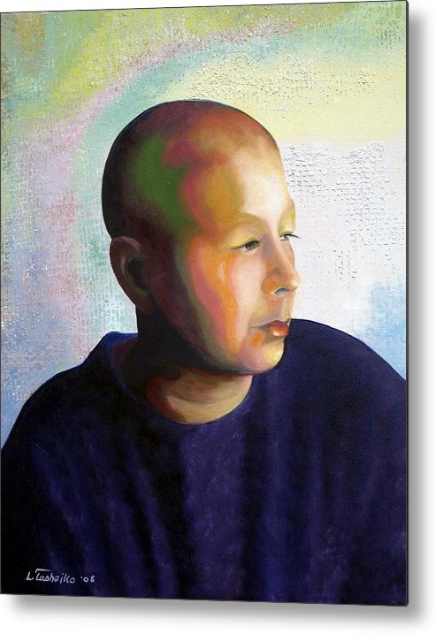 Breast Cancer Metal Print featuring the painting Self Portrait Mid-treatment by Laura Tasheiko