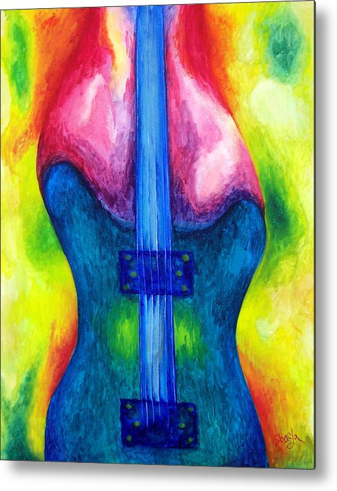 Vivid Contemporary Abstract Metal Print featuring the painting Strung Out by Shasta Miller