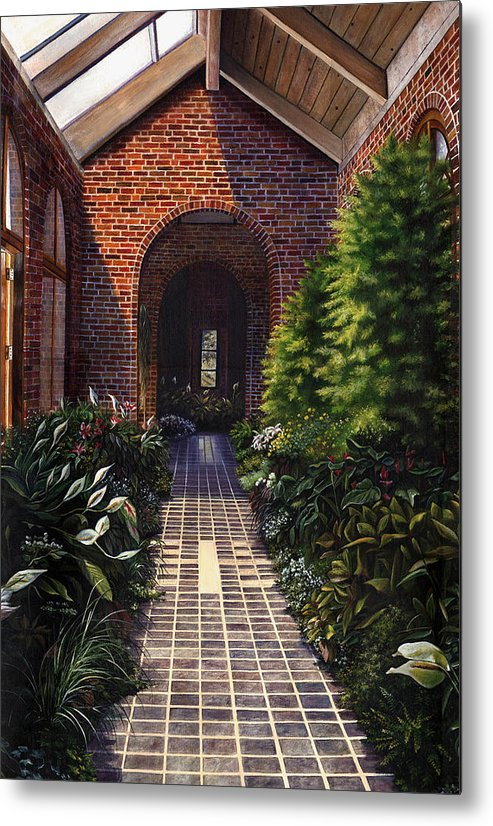 Greenhouse At Kingwood Center In Mansfield Ohio Metal Print featuring the painting Kingwood by Terri Meyer