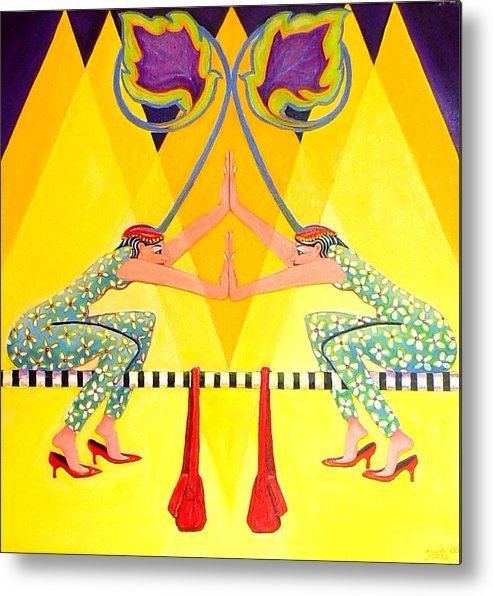 Funny Metal Print featuring the painting At Least There by Joetta Currie