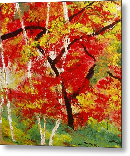 Landscape Metal Print featuring the painting Birch 2 by Maritza Bermudez