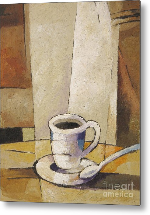 Coffee Metal Print featuring the painting Cup Of Coffee by Lutz Baar