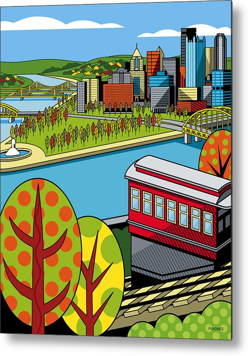 Pittsburgh Metal Print featuring the digital art Fall From Above II by Ron Magnes