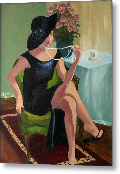 Figure Metal Print featuring the painting Black Hat And Beads by Roxanne Rodwell