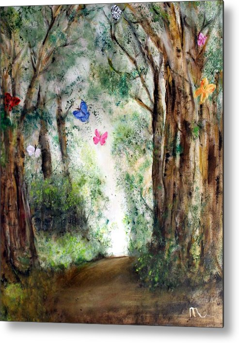 Landscape Metal Print featuring the painting Butterfly Forest by Michela Akers