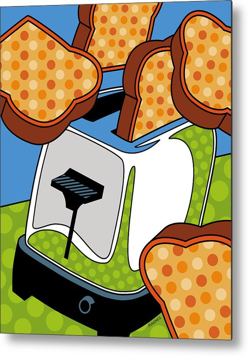 Toast Metal Print featuring the digital art Flying Toast by Ron Magnes