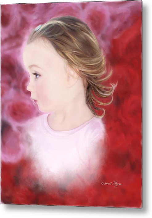Little Girl Metal Print featuring the painting In The Pink by Elzire S