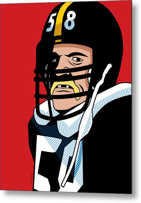 Graphic Metal Print featuring the digital art Jack Lambert by Ron Magnes