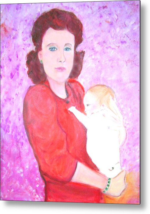 Mother Metal Print featuring the painting Mother And Child by Michela Akers