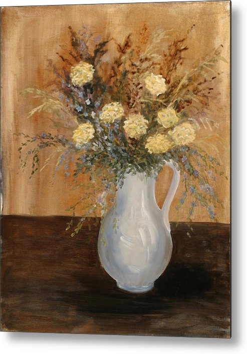 Floral Still Life Metal Print featuring the painting Pitcher Of Mums by Betty Stevens