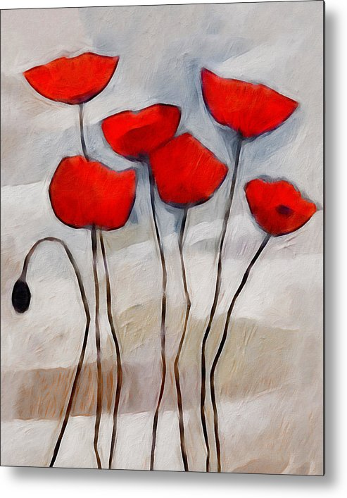 Poppies Metal Print featuring the painting Poppies Painting by Lutz Baar