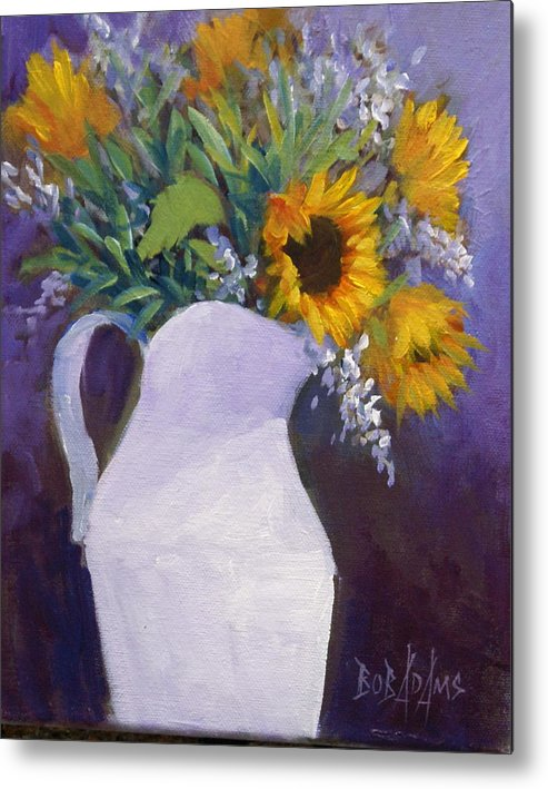 Still Life Metal Print featuring the painting Sun Flower Song by Bob Adams